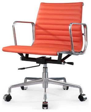M341 Eames Aluminum Group Style Office Chair In Orange Leather   Modern   Task  Chairs