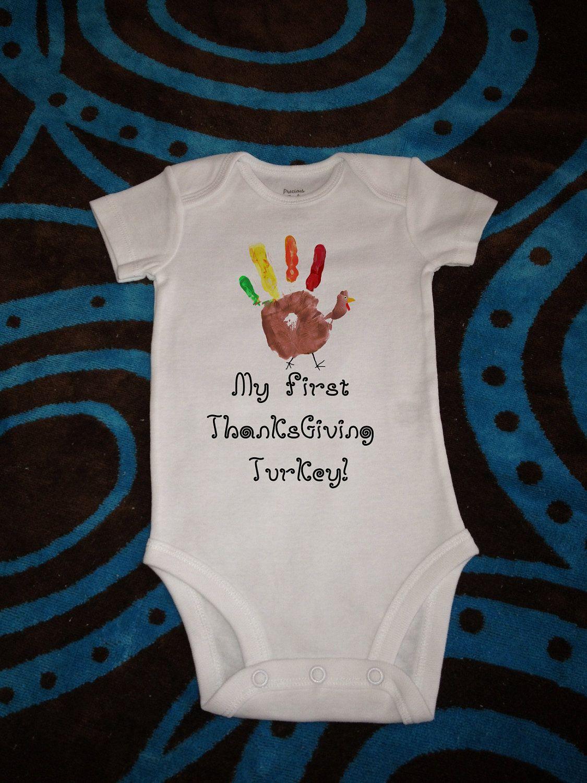 My First Thanksgiving Turkey Cute One Piece Bodysuit