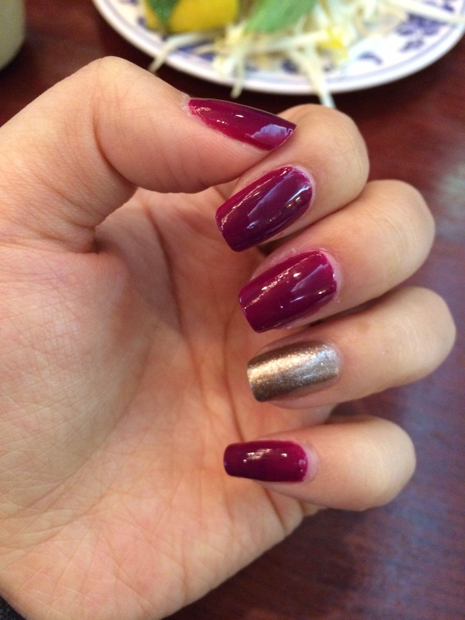 Gold And Wine Color Nails Nail Colors Pretty Nails Nails