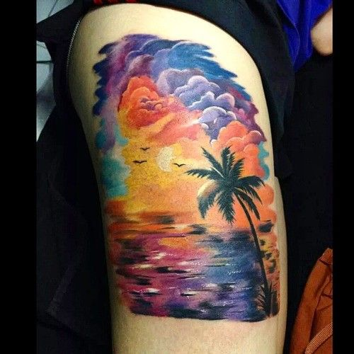 Delightful Sunset And Sunrise Tattoos