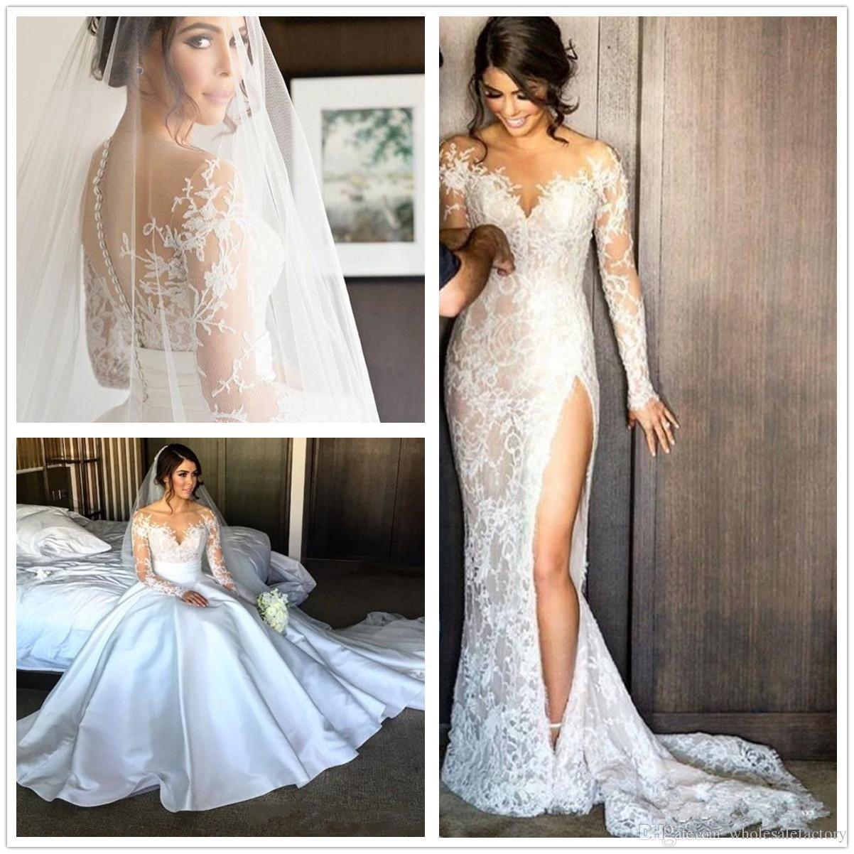 Elegant Illusion Long Sleeves Lace Split Mermaid Wedding Dresses Jewel Neck Satin Detachab Ball Gown Wedding Dress Jeweled Wedding Dress Pretty Wedding Dresses [ 1202 x 1202 Pixel ]
