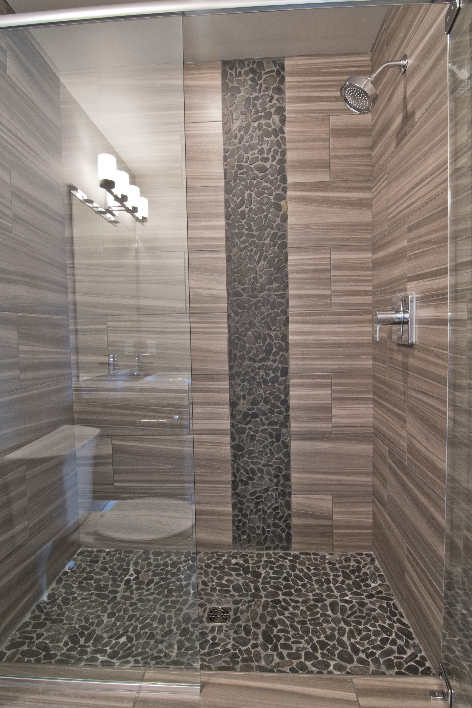Modern shower with glass doors