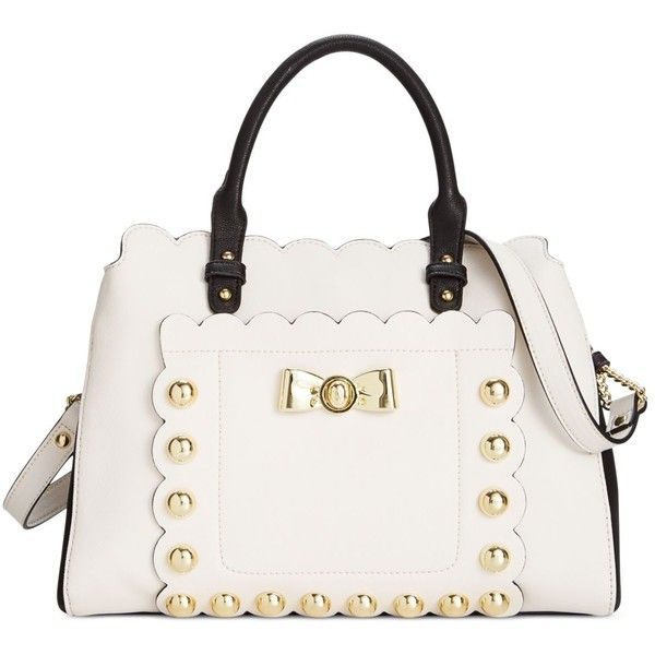 Betsey Johnson Studded Affair Satchel 118 Liked On Polyvore Featuring Bags Handbags Cream White Purse