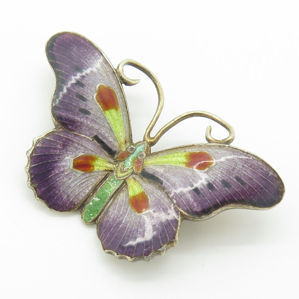 Vintage Silver Multi Color Enamel Butterfly Charming Bright Pin Brooch 6.7g