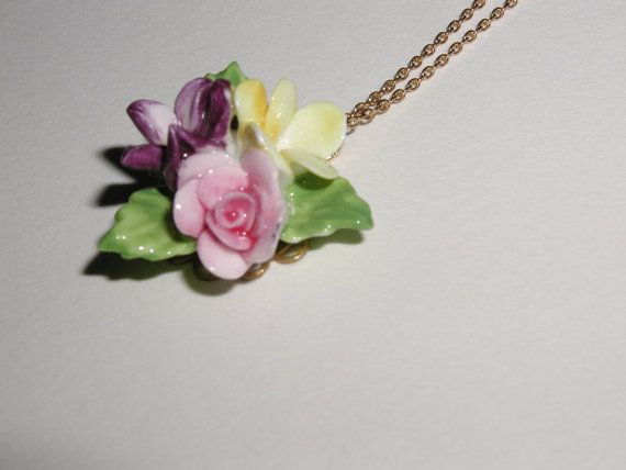 Coalport Porcelain Flower Necklace porcelain by luvswoodencars2