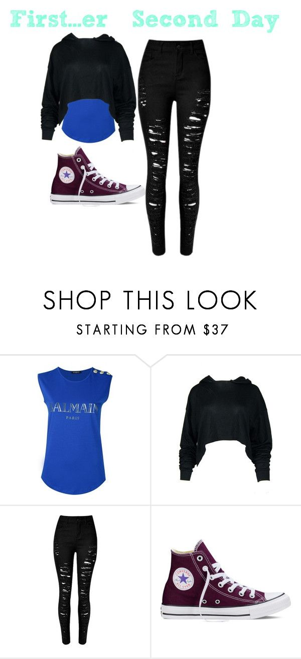 """First/Second day"" by angelscrowned ❤ liked on Polyvore featuring Balmain and Converse"