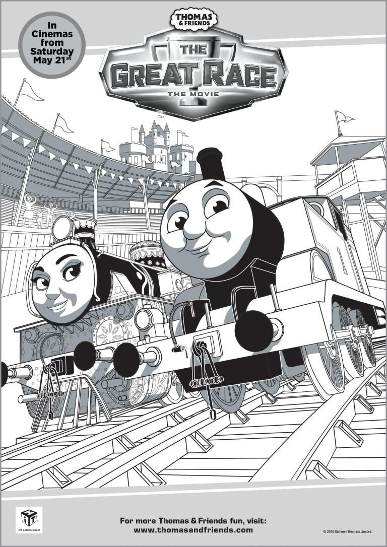 thomas and friends the great race colouring page printable - Thomas Friend Coloring Pages