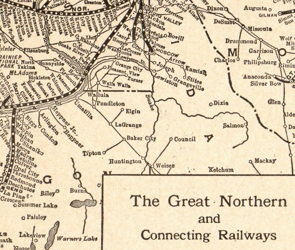 1922 Antique GREAT NORTHERN Railroad Map Vintage Railway Map ...