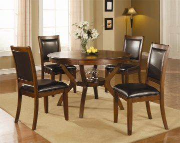 5 PC Calgary Round Walnut Dining Table Set by True Contemporary