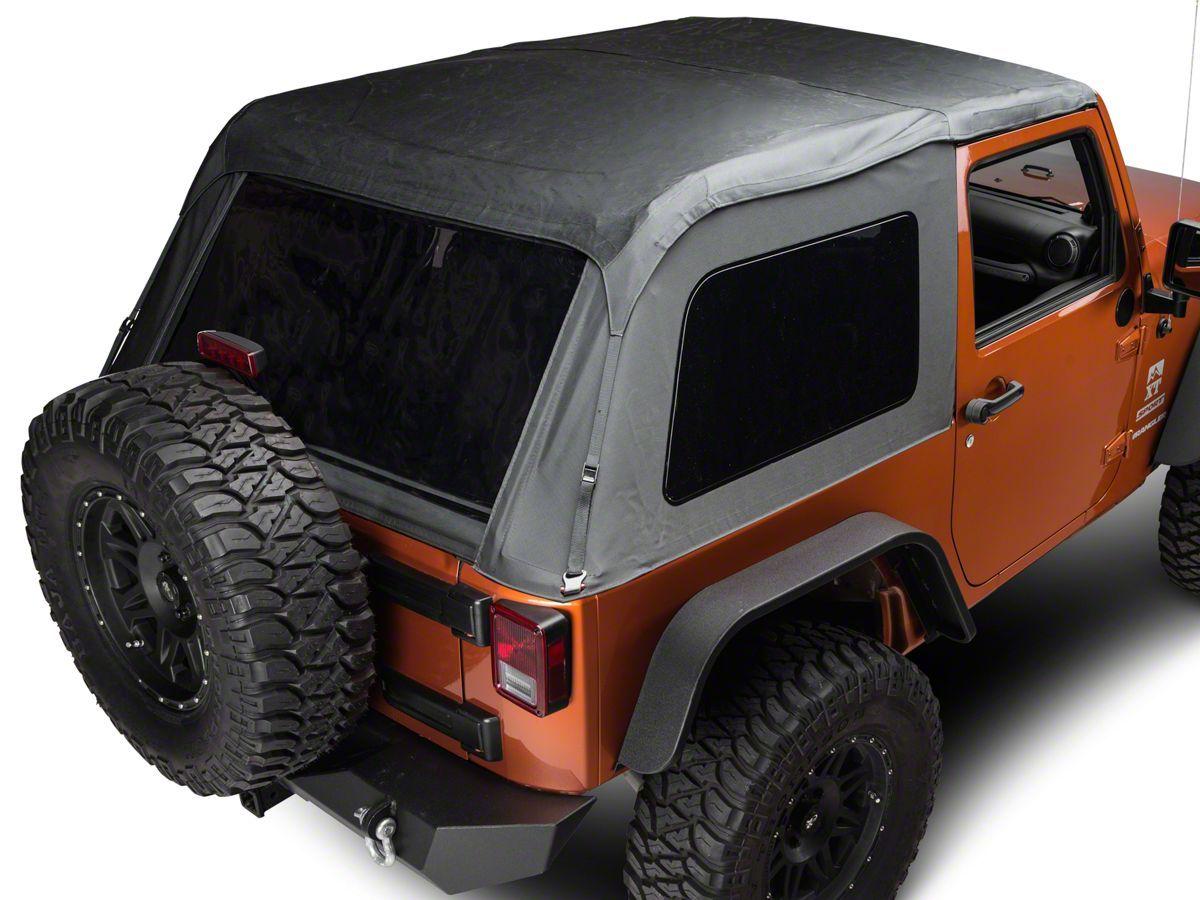 Redrock 4x4 Jeep Wrangler Fastback 2 In 1 Soft Top Black Diamond J108532 07 18 Jeep Wrangler Jk 2 Door