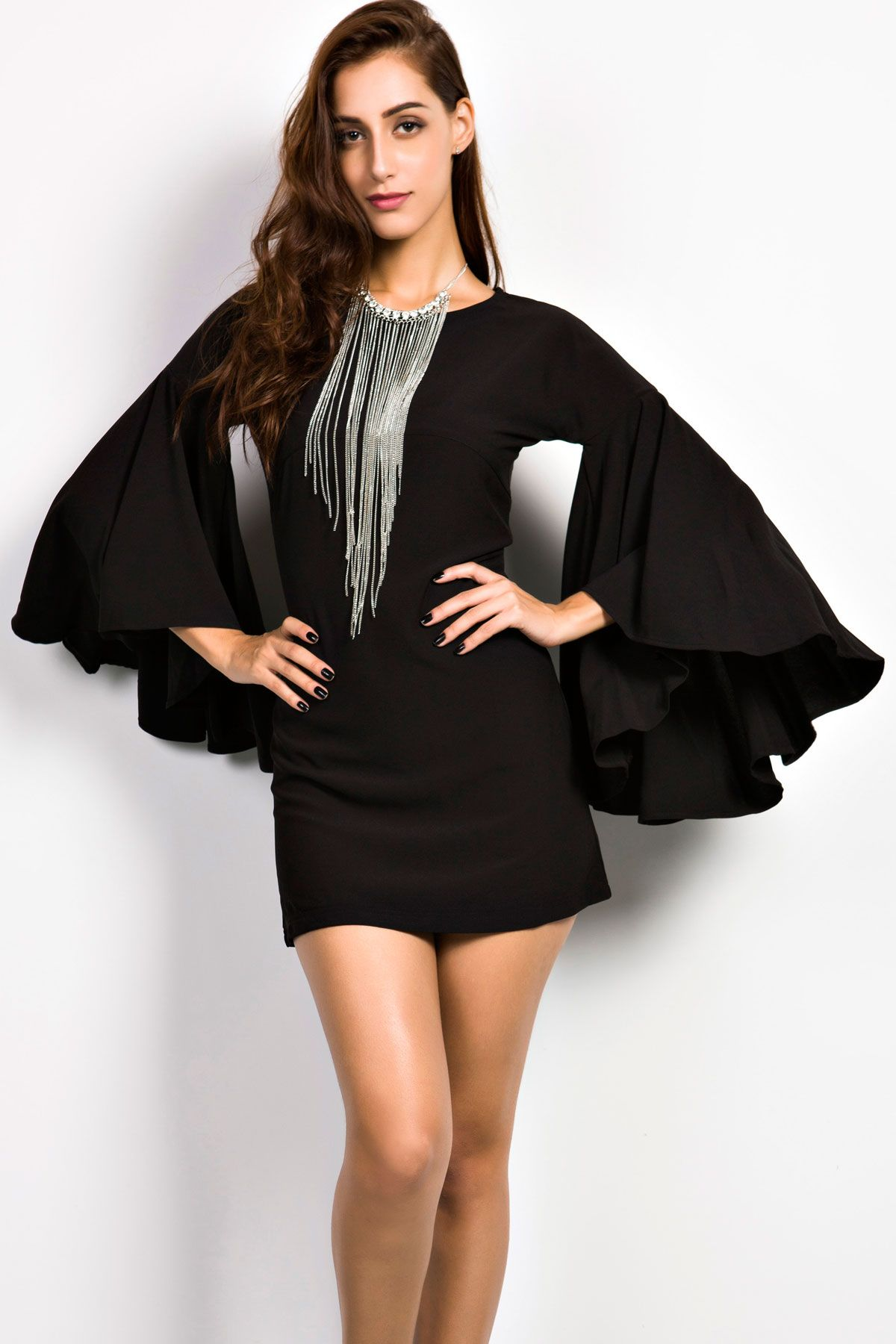Charming Goddess Black Bell Sleeves Dress with Necklace - OASAP.com