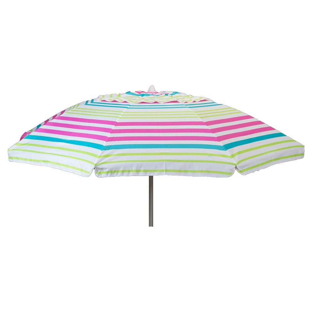 Parasol 7' Aluminum Collar Tilt Beach Umbrella with Travel Bag- Pink Stripe #patioumbrellastand