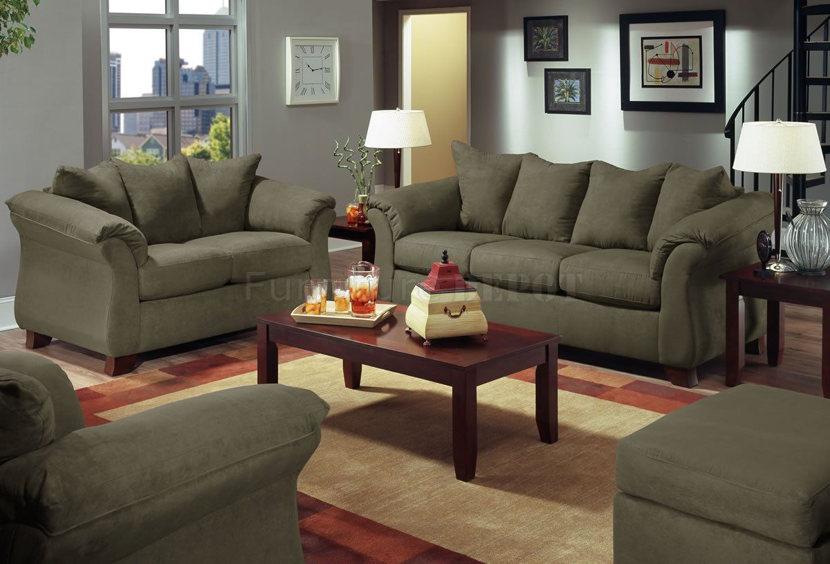 Olive microfiber modern sofa with blue grey walls living for Living room with green sofa