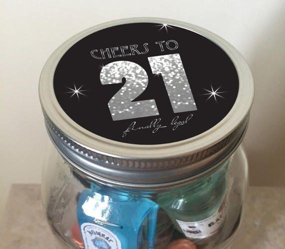 21st Birthday Mini Bar In A Jar Milestone Birthday Jar Gifts 21st Birthday Milestone Birthdays