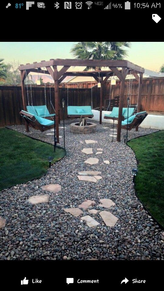 Fire Pit And Pallet Swing Gazebo With Stone Pathway