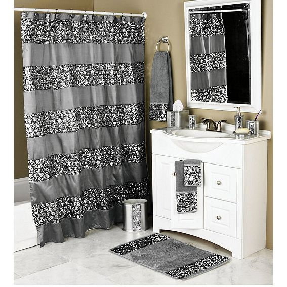 Tiffany bling black shower curtain curtain menzilperde net for Black bling bathroom accessories