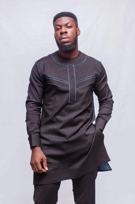 39fb4d4b6ff26 Chalk Stripes African Men Suit, African Mens Wear, African Clothing, African  Wedding Men, African Pr