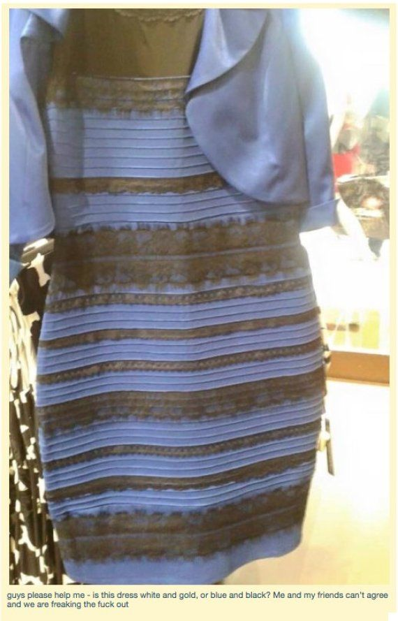 What color is the dress black and blue or white and gold