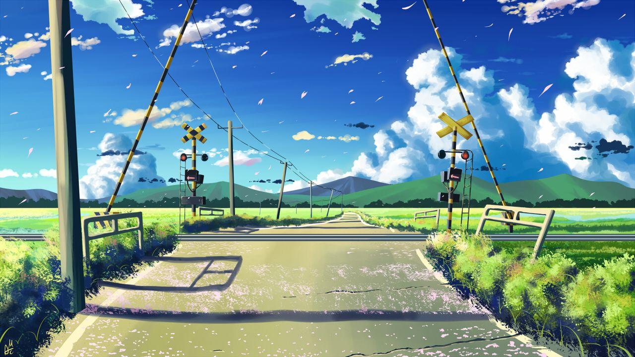 Byousoku 5 Centimetre Clouds Grass Landscape Mac Naut Nobody Original Petals Scenic Signed Sky Konach Anime Scenery Anime Backgrounds Wallpapers Anime Places