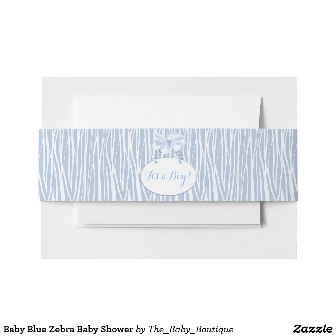 Baby Blue Zebra Baby Shower Invitation Belly Band | Zazzle ...