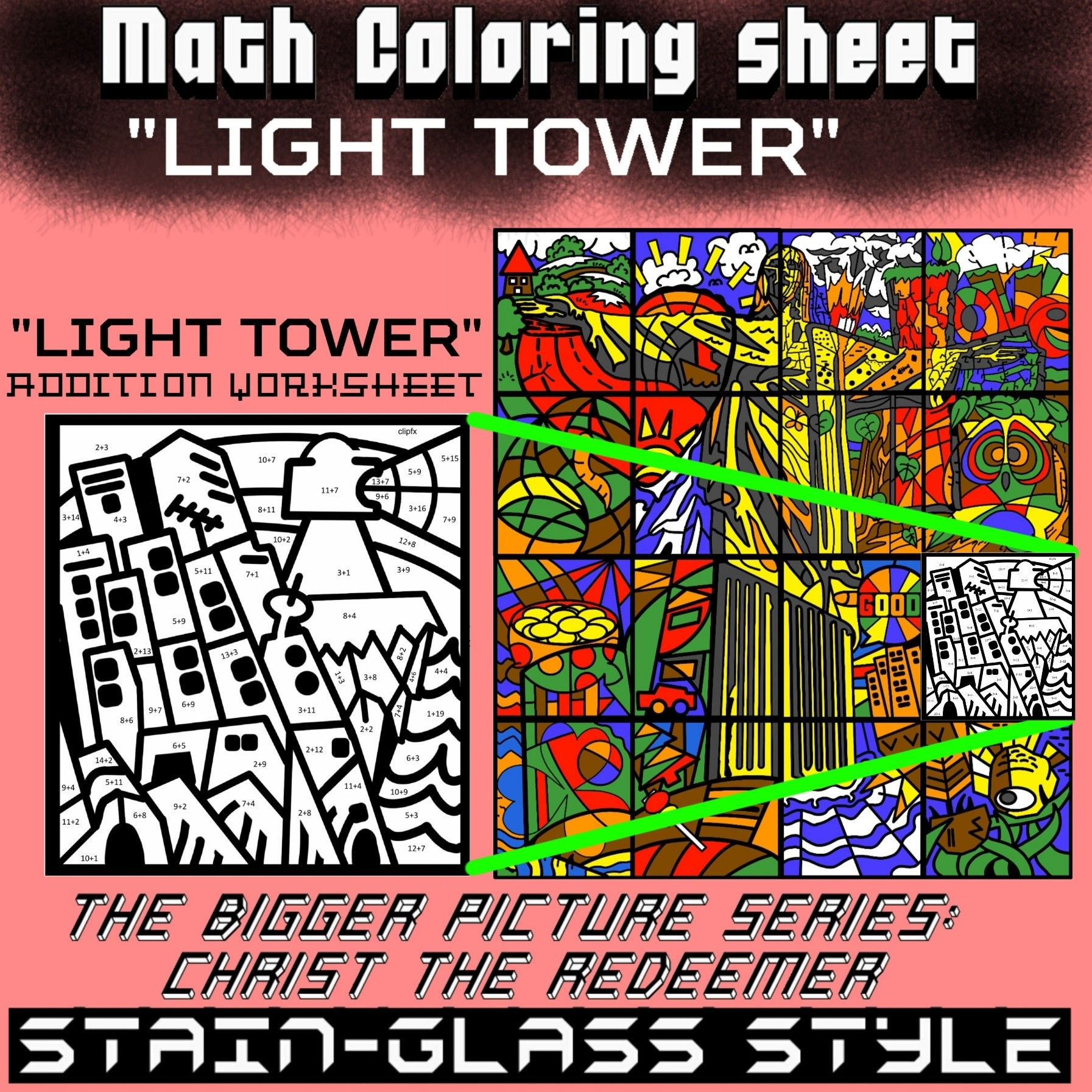 Math Colouring Worksheet Addition Light Tower