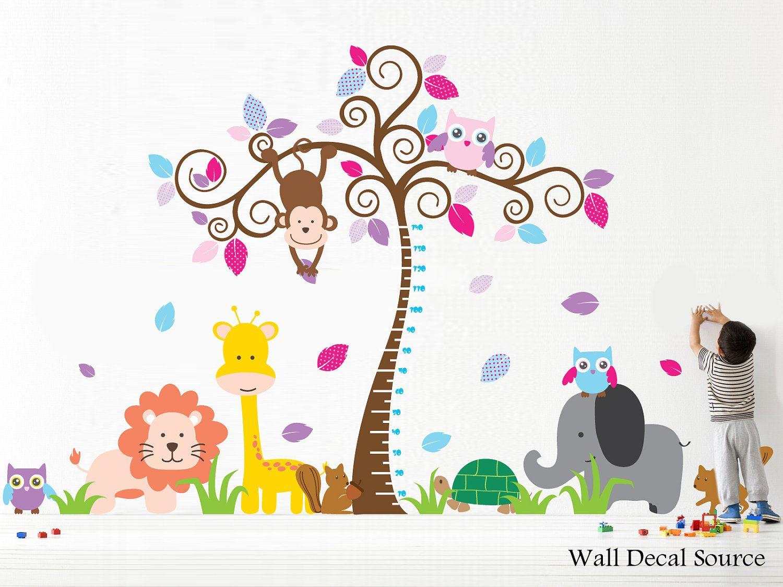 Nursery Wall Decal With Owls Lion Elephant Monkeys - Height Chart - Baby - Vinyl Sticker