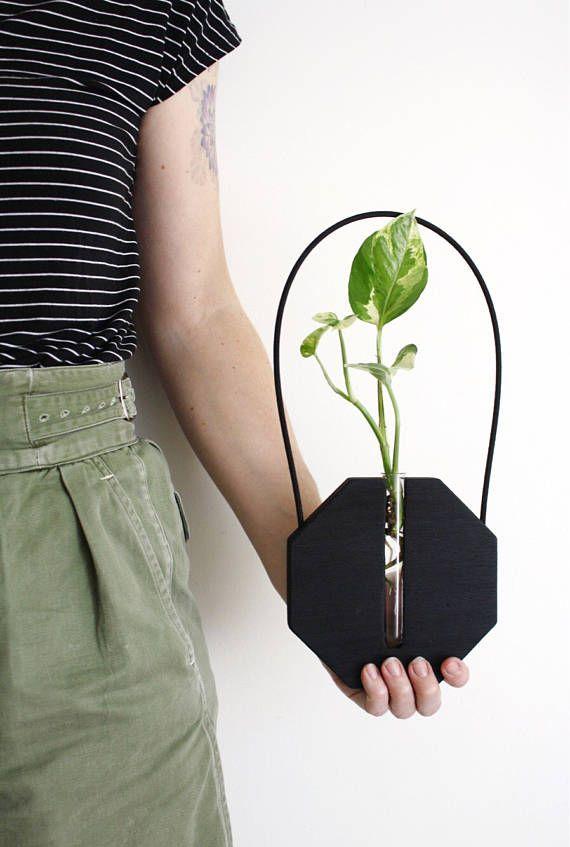 Wand Vase schwarz Holzvase hängende Pflanzen hängende