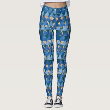 Blue teal green and gold geometric deco pattern leggings - pattern ...
