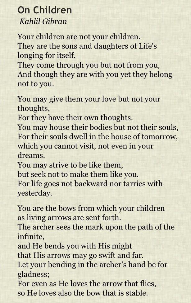 On Children by Kahlil Gibran - Pam Roy Blog