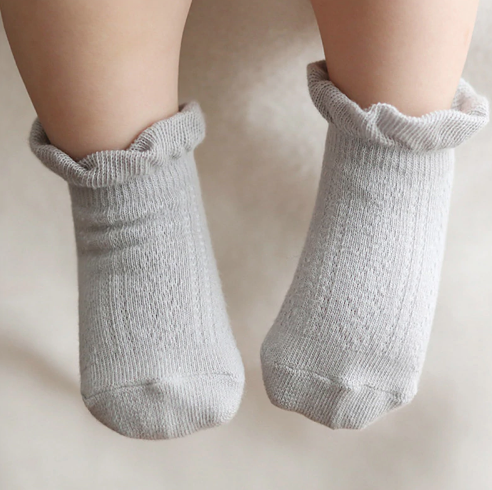 4 Pairs Ladies Lace Top Plain Ankle Socks Women Girls Trimmed Cotton Socks