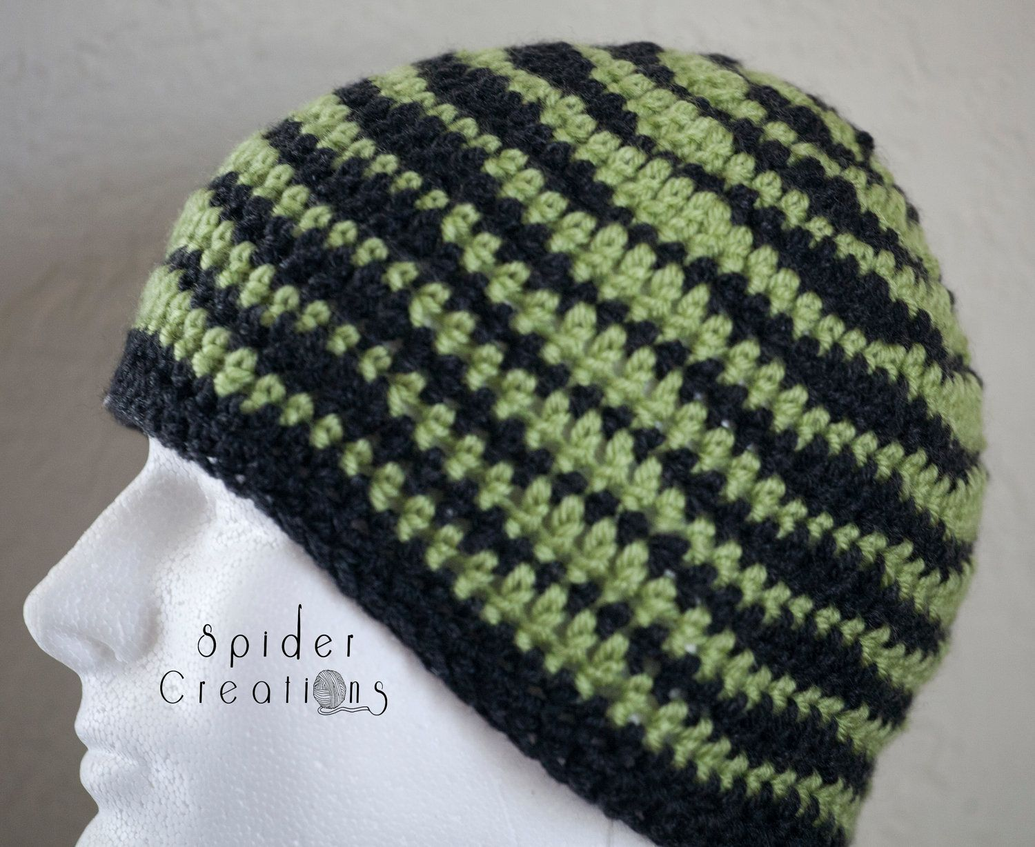 Waves Illusion Beanie  Charcoal Gray and Lime Green. $18.00, via Etsy.