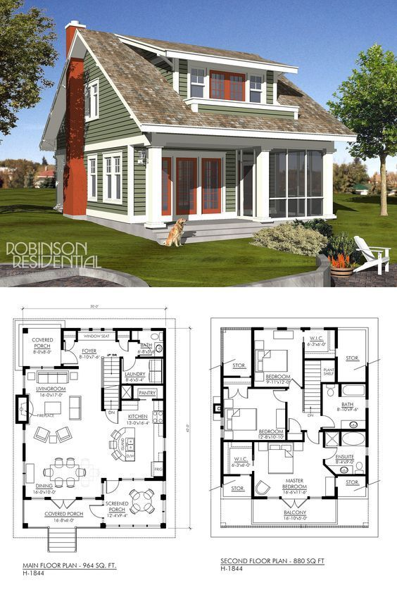 Craftsman H 1851 Robinson Plans Cottage Floor Plans Cottage Plan Small Lake Houses
