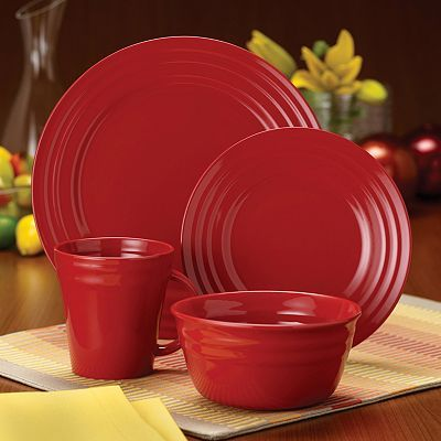 Rachael Ray Double Ridge Red Dinnerware Collection $20 for 4 ceramic ...