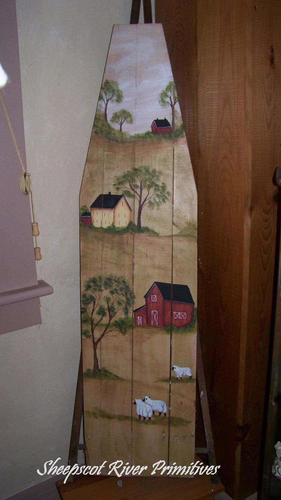 primitive decor american saltbox house 2 framed print 11 x 13 i repurposed this old ironing board and painted a new england country scene with sheep and saltbox houses