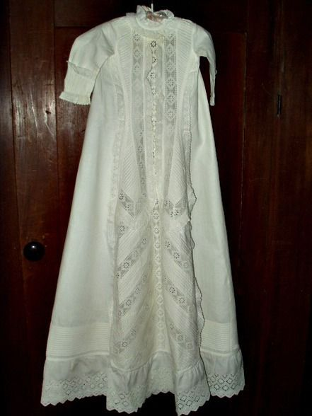 Antique Victorian 1890 Infant Baby Christening Gown Dress