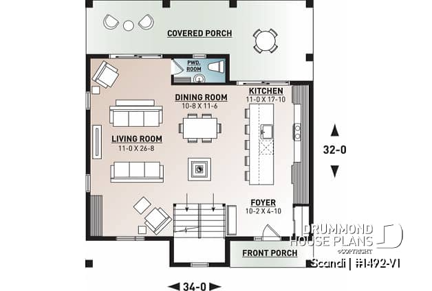 Discover the plan 1492 V1 Scandi which will please you for its 3 bedrooms and for its Scandinavian styles