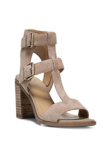 4766fe0d570 Franco Sarto Hasina Suede T-Strap Sandals Women s Dark Sand 7.5 ...