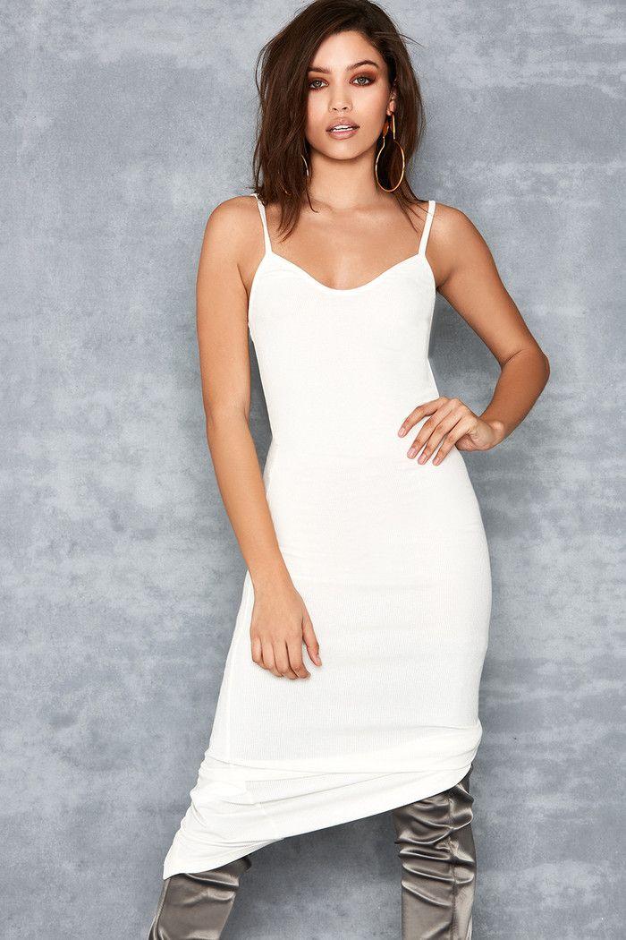 Tearaway White Stretch Rib Knit Midi Dress