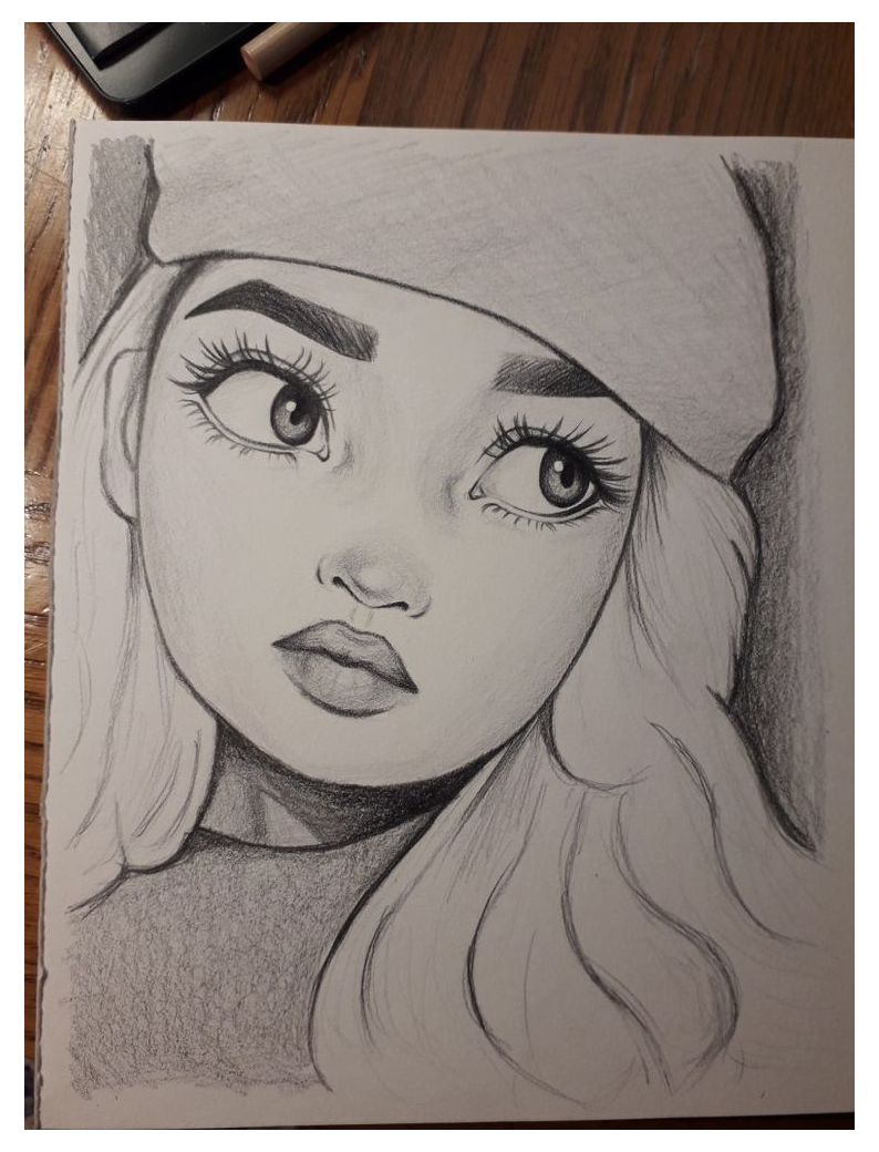 Photo of girl drawing sketch pencil
