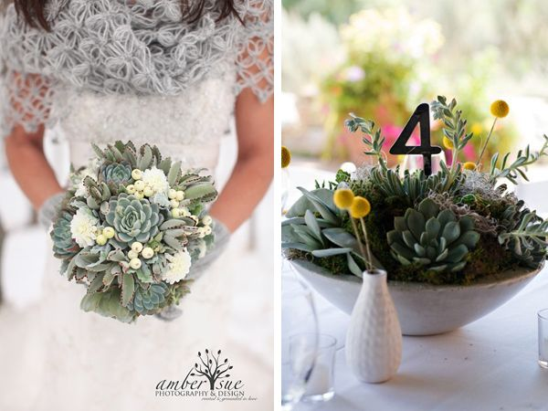 Succulent Wedding Bouquet And The Number Inside Table Arrangements