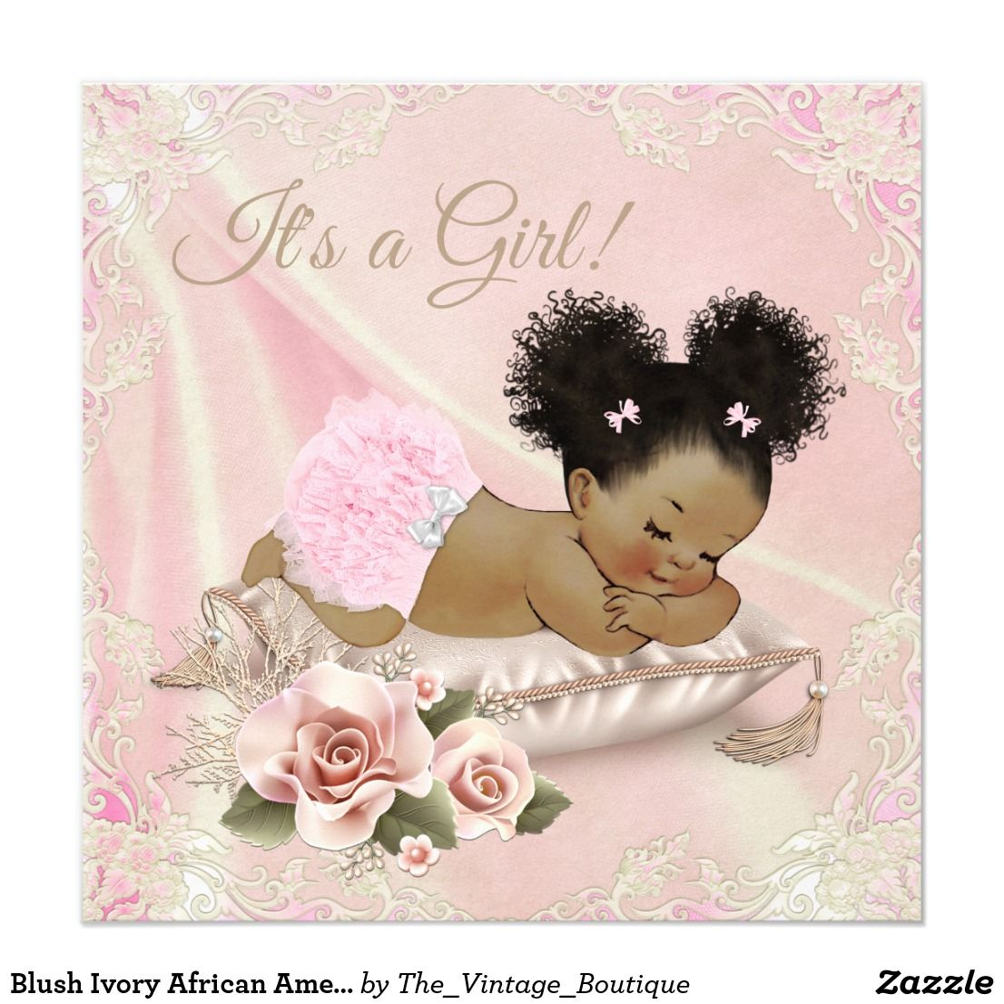 Blush Ivory African American Baby Shower Invitation
