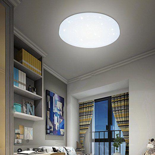 VINGO LED Deckenleuchte Deckenlampe Weiß Wohnzimmerlampe