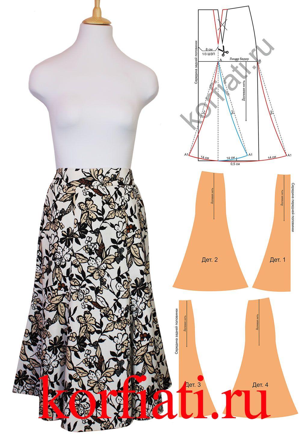 Выкройка юбки шестиклинки от Анастасии Корфиати | Pinterest | Molde ...