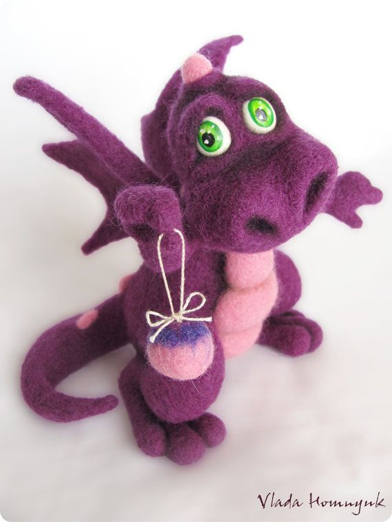 Items similar to Needle Felted Toy - Little Purple Dragon. rusteam on Etsy