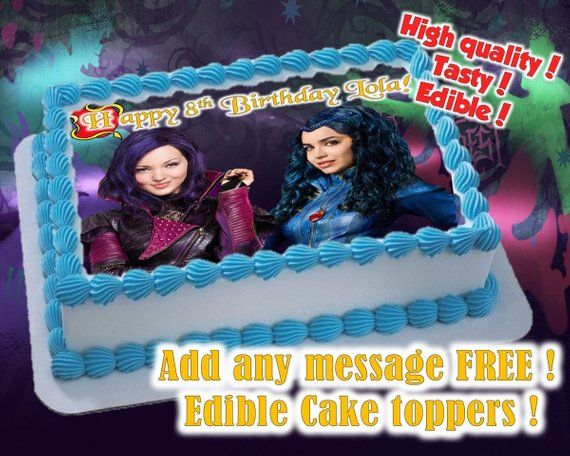 Wicked World (Descendants) cake toppers, edible print Sugar sheet