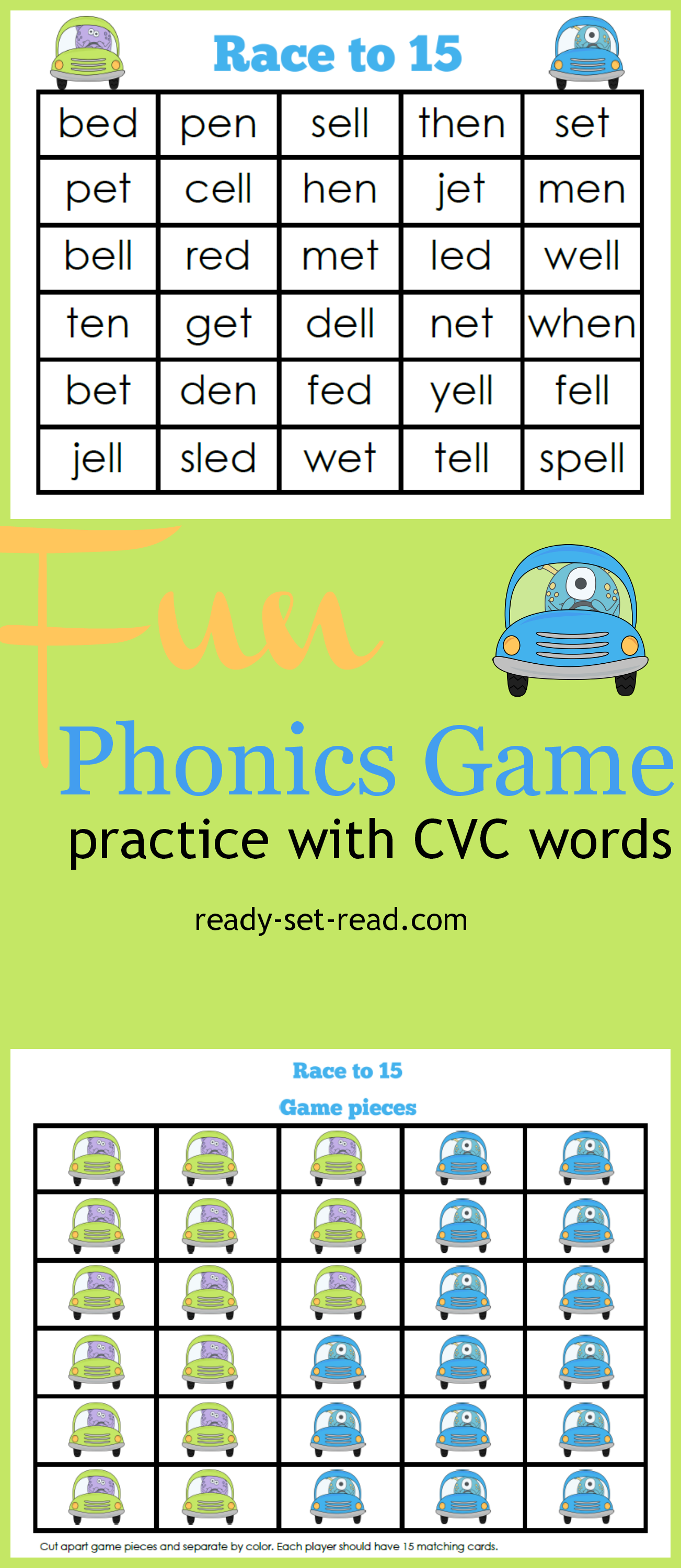 Word Work Game Race To 15 Read Cvc Words With Short E Sound Cover The Words You Can Read