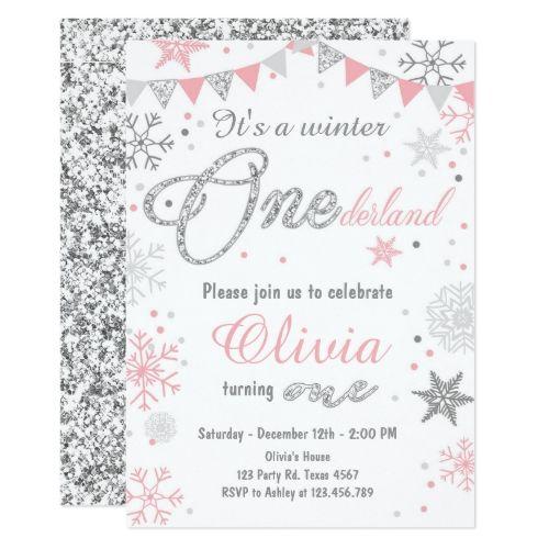 Winter Onederland birthday invitation Pink silver in 2018 Pink