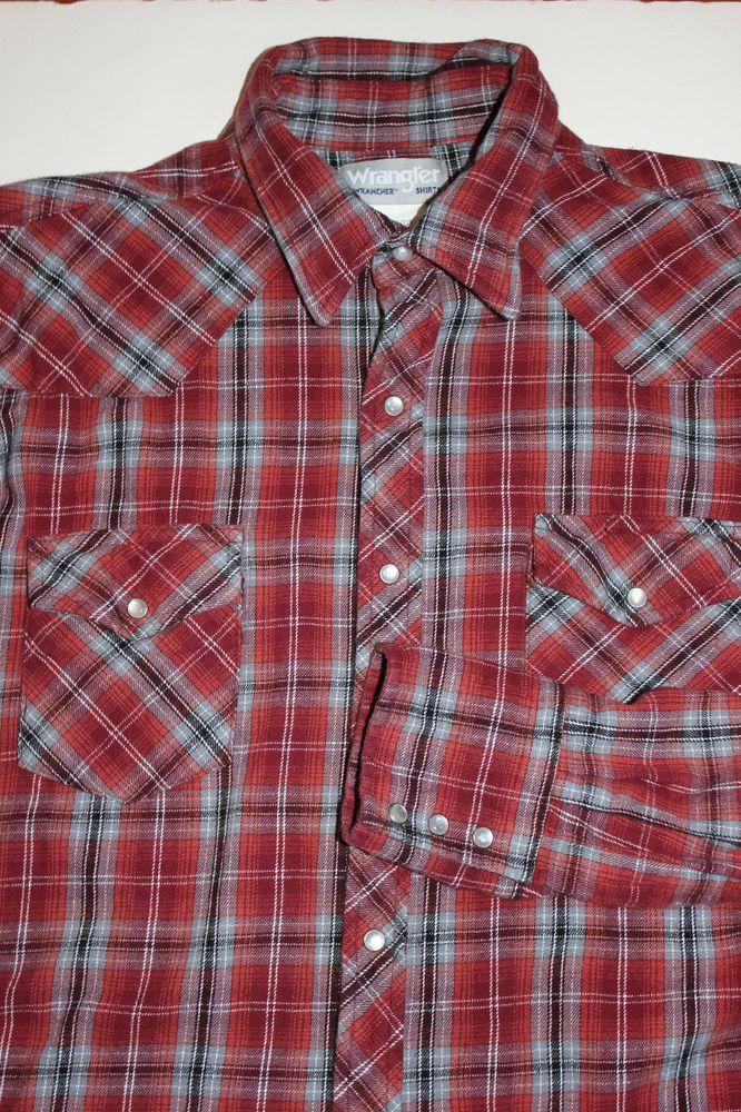 Large Wrangler Mens Vintage Black /& Red Plaid Western Shirt
