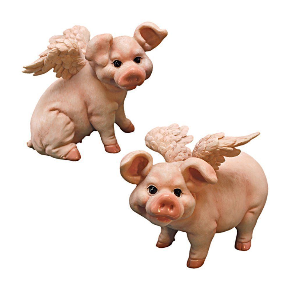 Pig lawn ornament - Pigs With Wings Pig Hog Statue Figurine Animal Statuary Sculpture Home Decor Statues Lawn