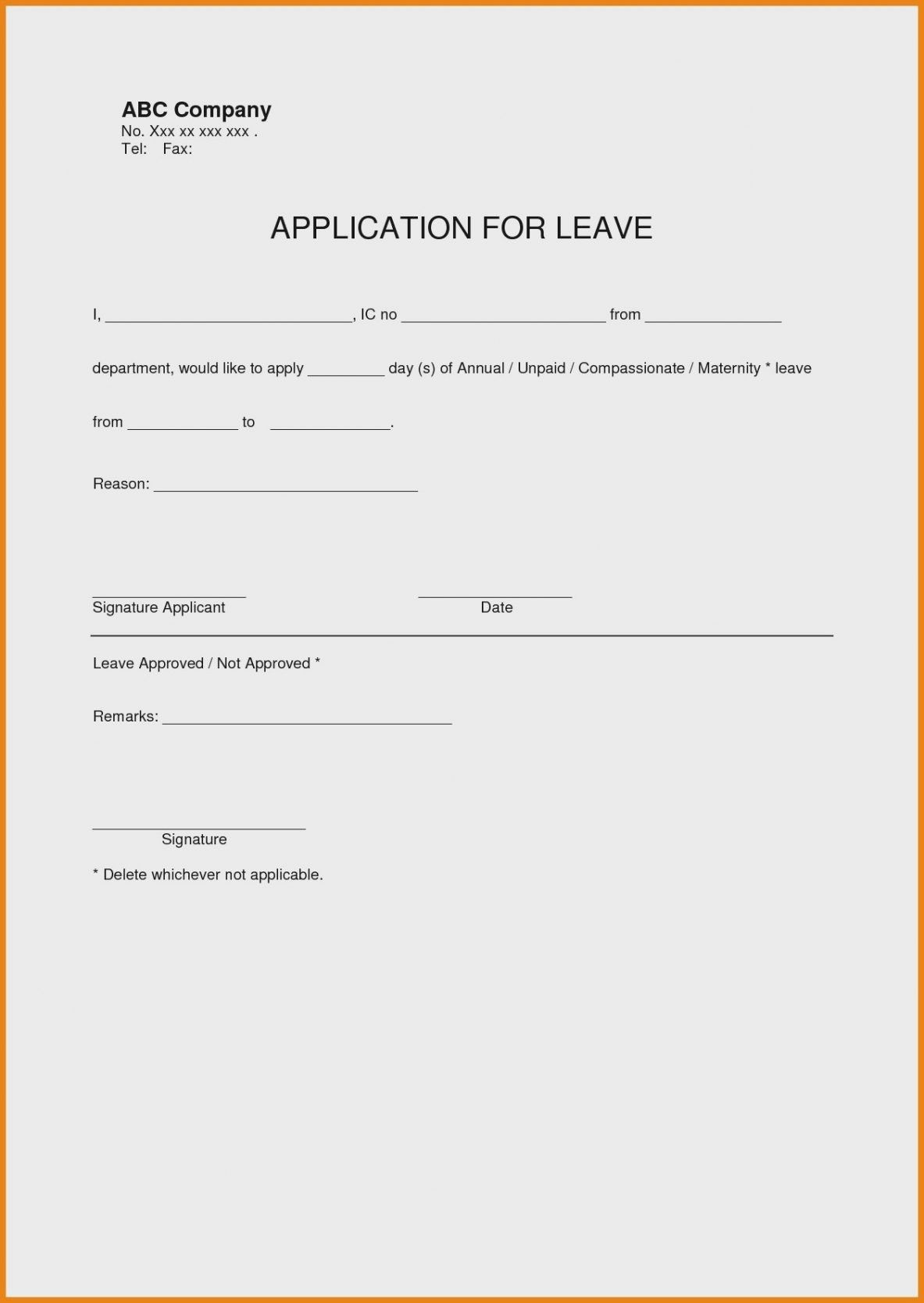 Best Of Leave Application form Template Case Worker Sample